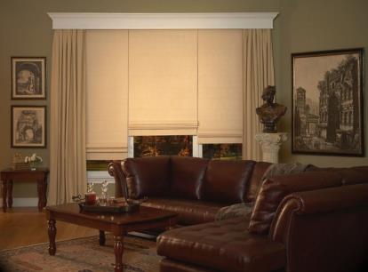 norman centerpiece roman shade flat fold without seams with sheer translucent liner